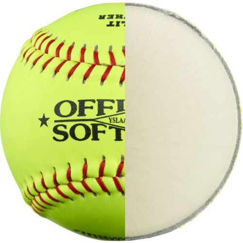 Academy Sports + Outdoors Youth 11 in Leather Softballs 6-Pack - view number 3