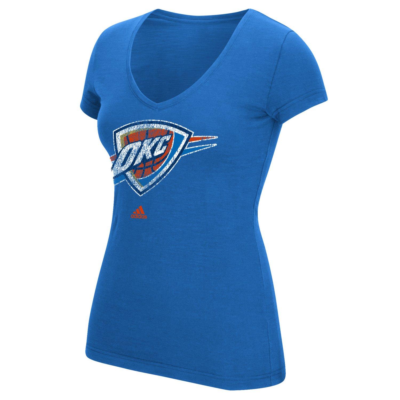 adidas™ Women's Oklahoma City Thunder Logo V-neck T-shirt