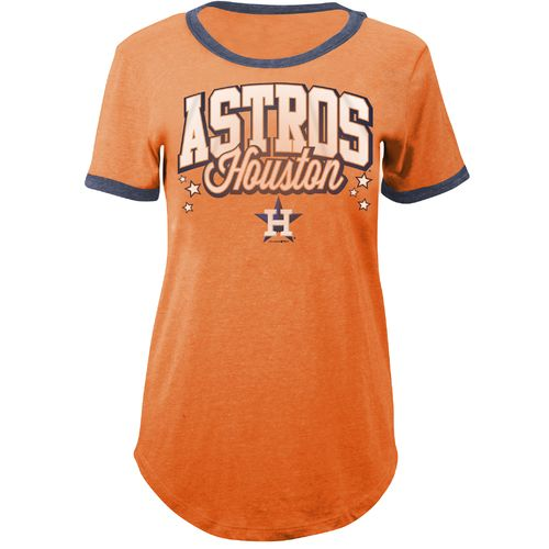 5th & Ocean Clothing Women's Houston Astros Ringer Crew Neck T-shirt