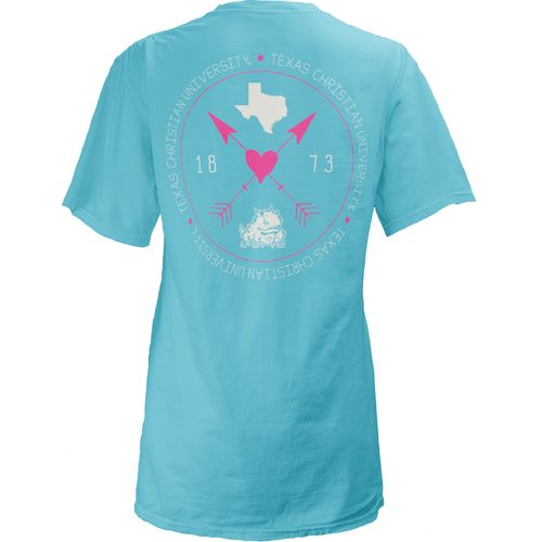 Three Squared Juniors' Texas Christian University Boho Arrow Pocketed T-shirt