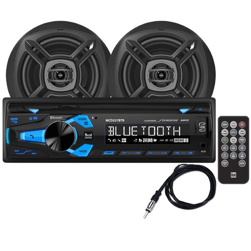 Dual 200 w Digital Media Marine Receiver with Two 6-1/2 in Speakers