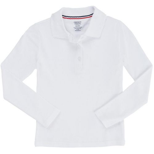 French Toast Girls' Plus Size Long Sleeve Interlock Knit Uniform Polo