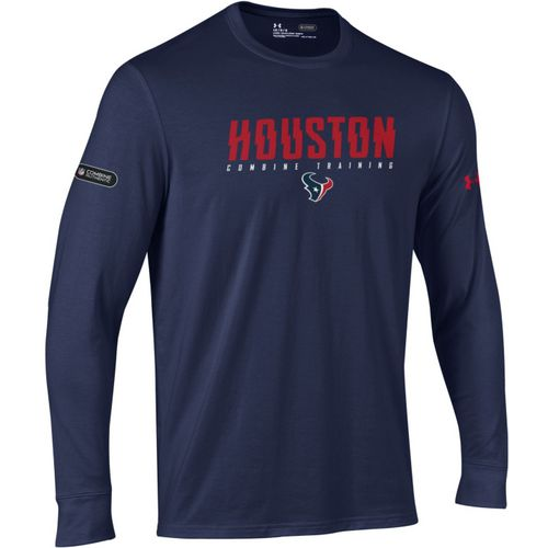 Under Armour Men's Houston Texans Authentic Combine Wordmark Long Sleeve T-shirt