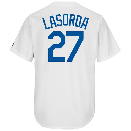 Majestic Men's Los Angeles Dodgers Tommy Lasorda #27 Cooperstown Cool Base 1941-57 Replica Jerse - view number 1