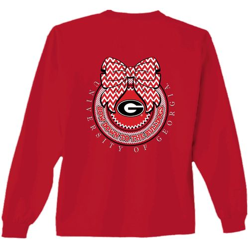 New World Graphics Women's University of Georgia Ribbon Bow Long Sleeve T-shirt