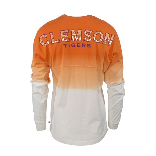 Venley Women's Clemson University Ombré Wash Long Sleeve T-shirt