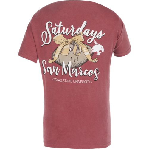 Image One Women's Texas State University Laces and Bows Comfort Color T-shirt
