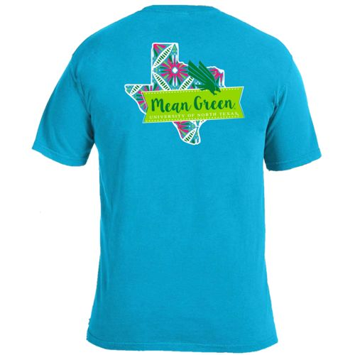 Image One Women's University of North Texas Pattern Scroll State T-shirt