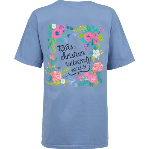 New World Graphics Women's Texas Christian University Comfort Color Circle Flowers T-shirt