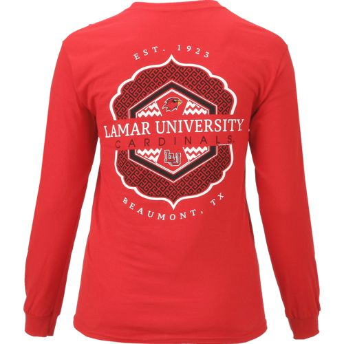 New World Graphics Women's Lamar University Faux Pocket Long Sleeve T-shirt