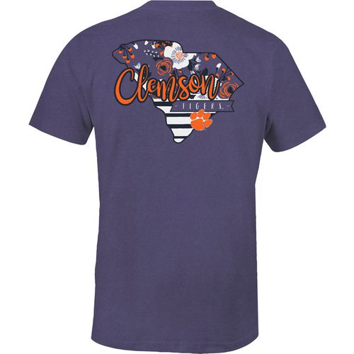 Image One Women's Clemson University 2-Tone Patterned State T-shirt