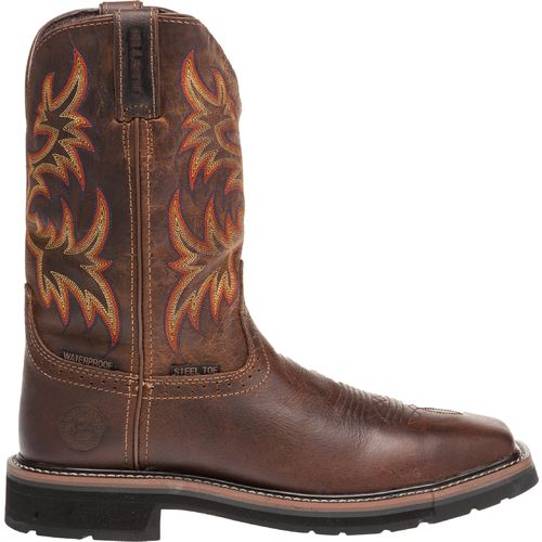 Display product reviews for Justin Men's Rugged Cowhide Waterproof Steel Toe Western Work Boots