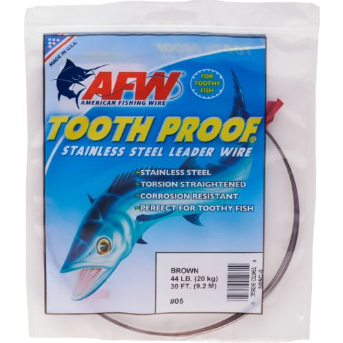 American Fishing Wire Tooth Proof 44 lbs - 30 ft Single-Strand Leader Wire