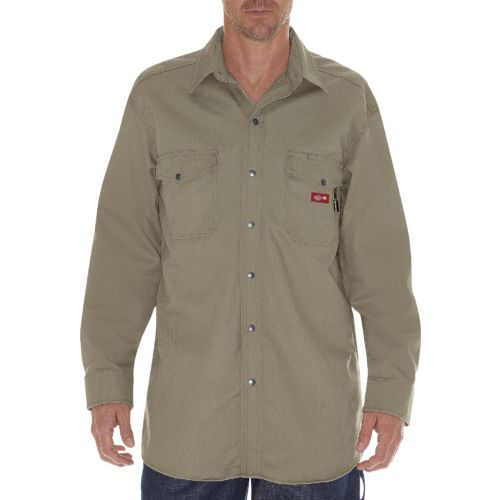 Dickies Men's Flame Resistant Long Sleeve Twill Snap