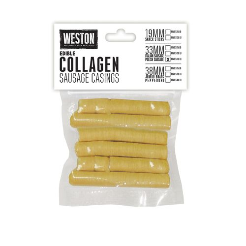 Weston 33 mm Edible Collagen Sausage Casings for 70 lb.
