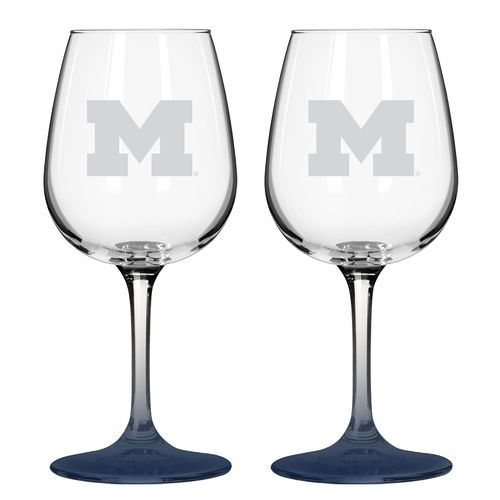 Boelter Brands University of Michigan 12 oz. Wine Glasses 2-Pack