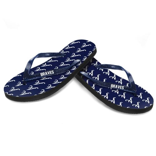 Forever Collectibles™ Women's Atlanta Braves Glitter Logo Flip-Flops