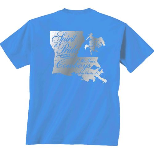 New World Graphics Women's McNeese State University Silver State Distress T-shirt
