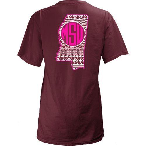 Three Squared Juniors' Mississippi State University Moonface Vee T-shirt