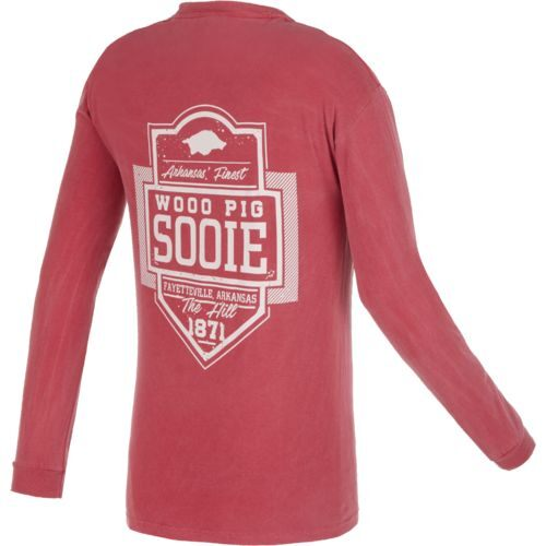 Image One Men's University of Arkansas Finest Shield Comfort Color Long Sleeve T-shirt
