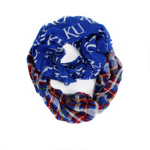 ZooZatz Women's University of Kansas Tartan Infinity Scarf