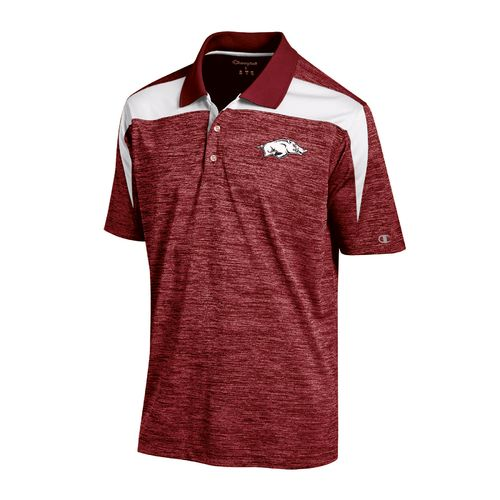 Champion™ Men's University of Arkansas Synthetic Colorblock Polo Shirt