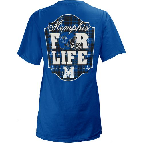 Three Squared Juniors' University of Memphis Team For Life Short Sleeve V-neck T-shirt