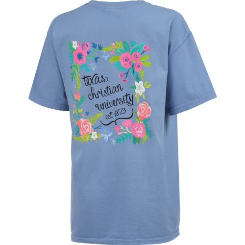 New World Graphics Women's Texas Christian University Comfort Color Circle Flowers T-shirt - view number 2