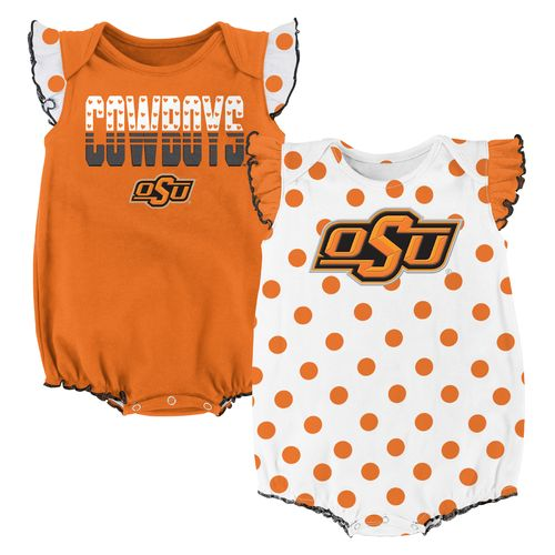 NCAA Infant Girls' Oklahoma State University Polka Fan Creepers 2-Pack
