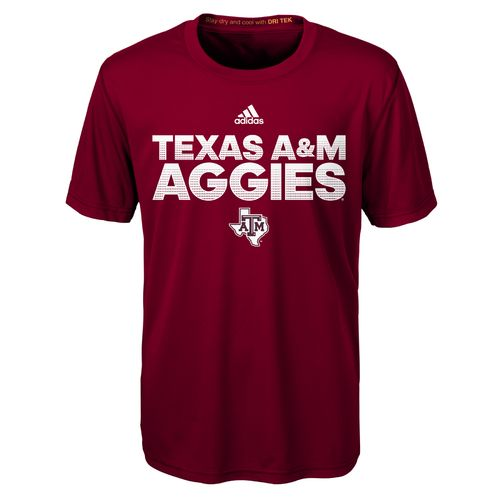 adidas™ Boys' Texas A&M University Sideline Hustle Clima T-shirt