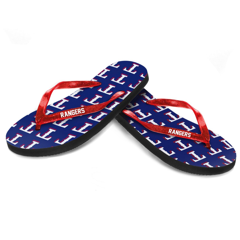 Forever Collectibles™ Women's Texas Rangers Glitter Logo Flip-Flops