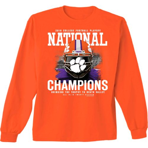 New World Graphics Boys' Clemson University 2016 National Champions Face Guard Long Sleeve T-shi