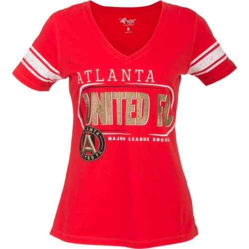 G-III for Her Women's Atlanta United FC First Pick Striped V-neck T-shirt