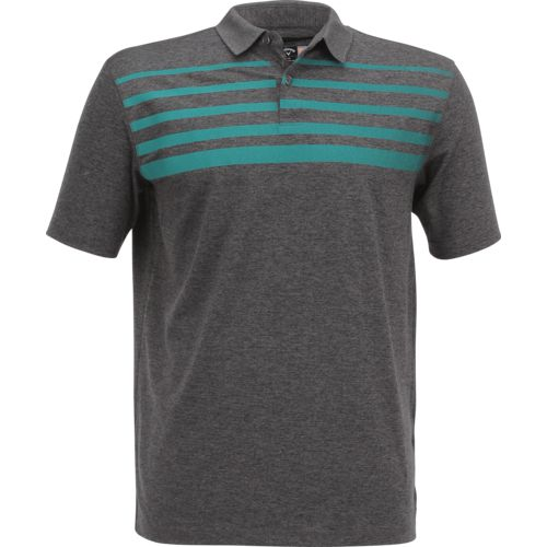 Callaway Men's Short Sleeve Opti-Soft Golf Performance Ombre Chest Stripe Heather Polo Shirt