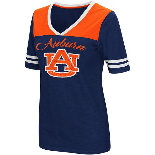 Colosseum Athletics Women's Auburn University Twist 2.1 V-Neck T-shirt