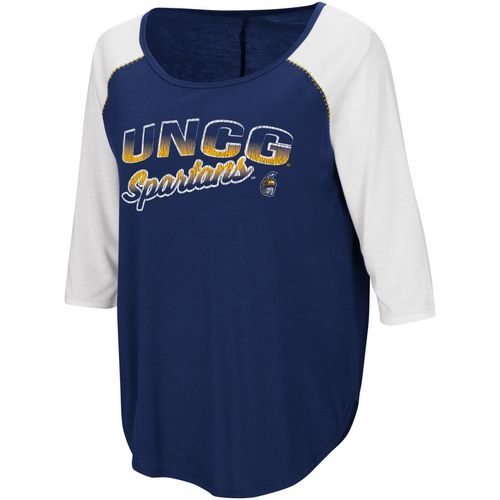 Colosseum Athletics Women's University of North Carolina at Greensboro Draw A Crowd Baseball T-shirt