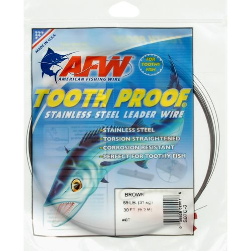 American Fishing Wire Tooth Proof 69 lbs - 30 ft Single-Strand Leader Wire