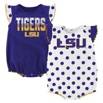 NCAA Infant Girls' Louisiana State University Polka Fan Creepers 2-Pack