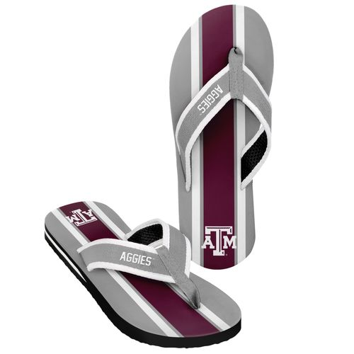 Forever Collectibles™ Men's Texas A&M University 2016 Contour Stripe Flip-Flops