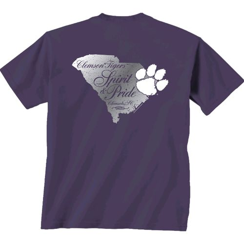 New World Graphics Women's Clemson University Silver State Distress T-shirt