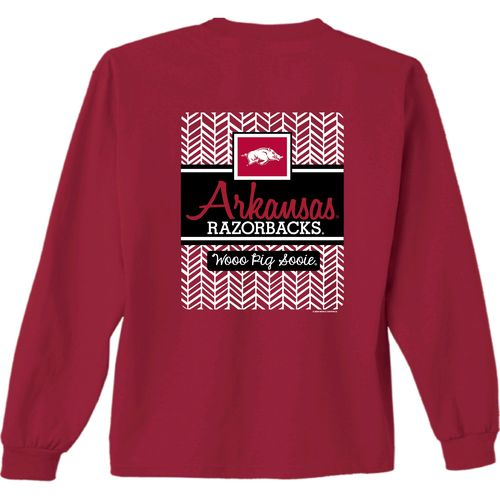 New World Graphics Women's University of Arkansas Herringbone Long Sleeve T-shirt