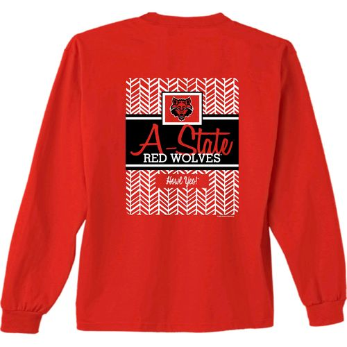 New World Graphics Women's Arkansas State University Herringbone Long Sleeve T-shirt