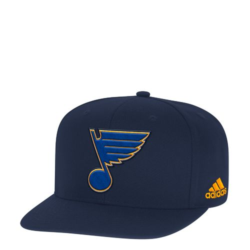adidas Men's St. Louis Blues Basic Logo Flat Brim Snapback Cap
