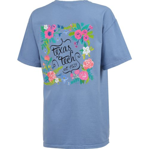 New World Graphics Women's Texas Tech University Comfort Color Circle Flowers T-shirt - view number 2