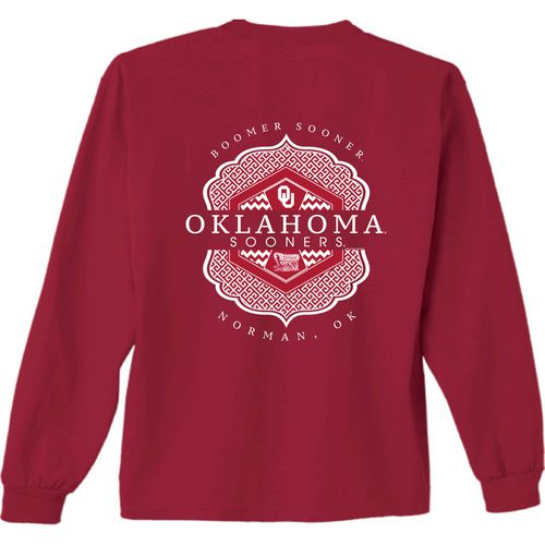 New World Graphics Women's University of Oklahoma Faux Pocket Long Sleeve T-shirt
