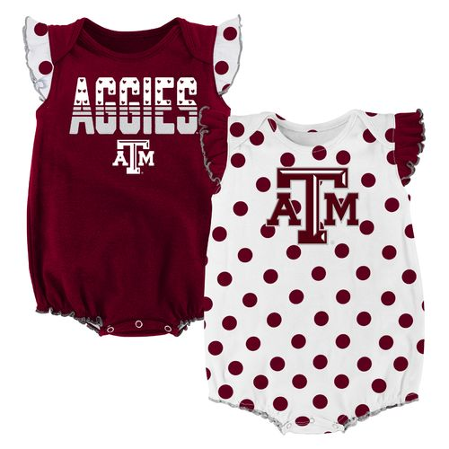 NCAA Infant Girls' Texas A&M University Polka Fan Creepers 2-Pack