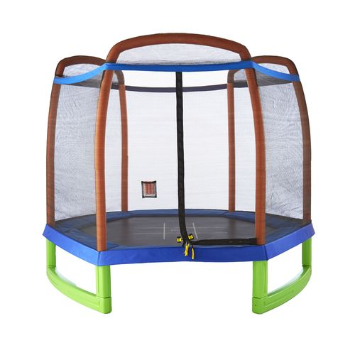 Pure Fun Kids' 7' Round Trampoline Set with Tic-Tac-Toe Mat