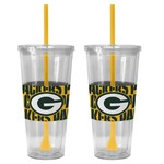 Boelter Brands Green Bay Packers Bold Neo Sleeve 22 oz. Straw Tumblers 2-Pack