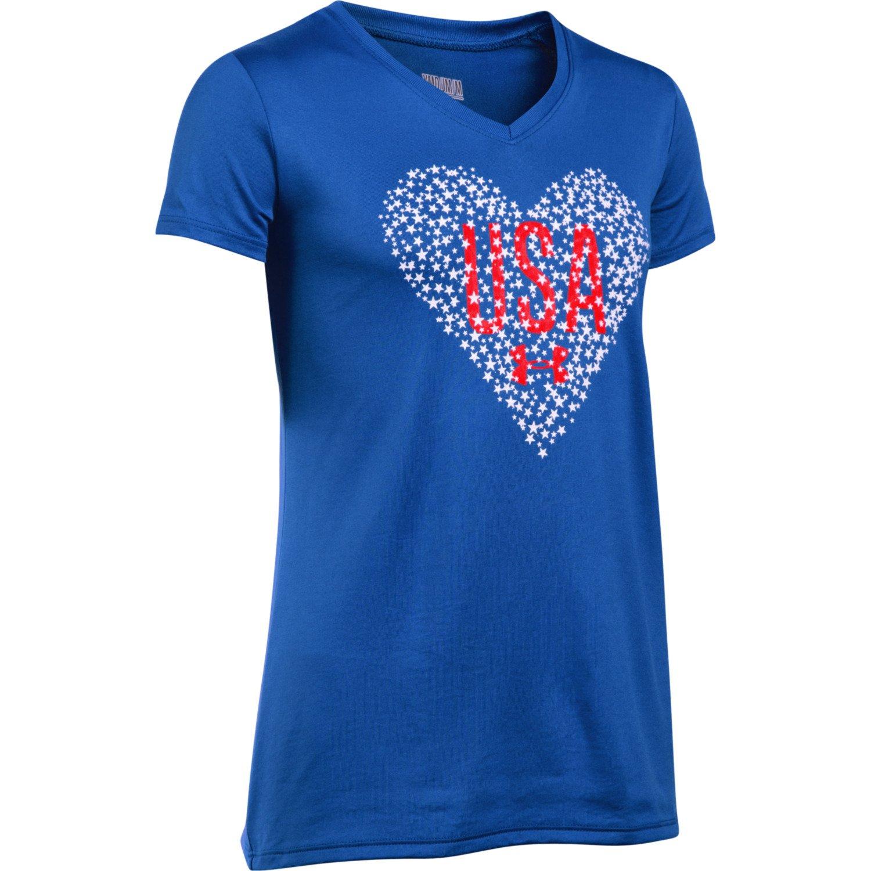 Under Armour™ Girls' USA Heart V-neck Short Sleeve