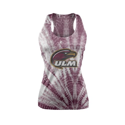 Chicka-d Women's University of Louisiana at Monroe Tie Dye Racerback Tank Top